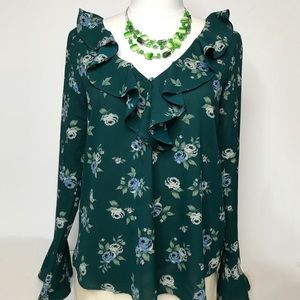 NWT Sanctuary Ruffle Front Teal Blouse